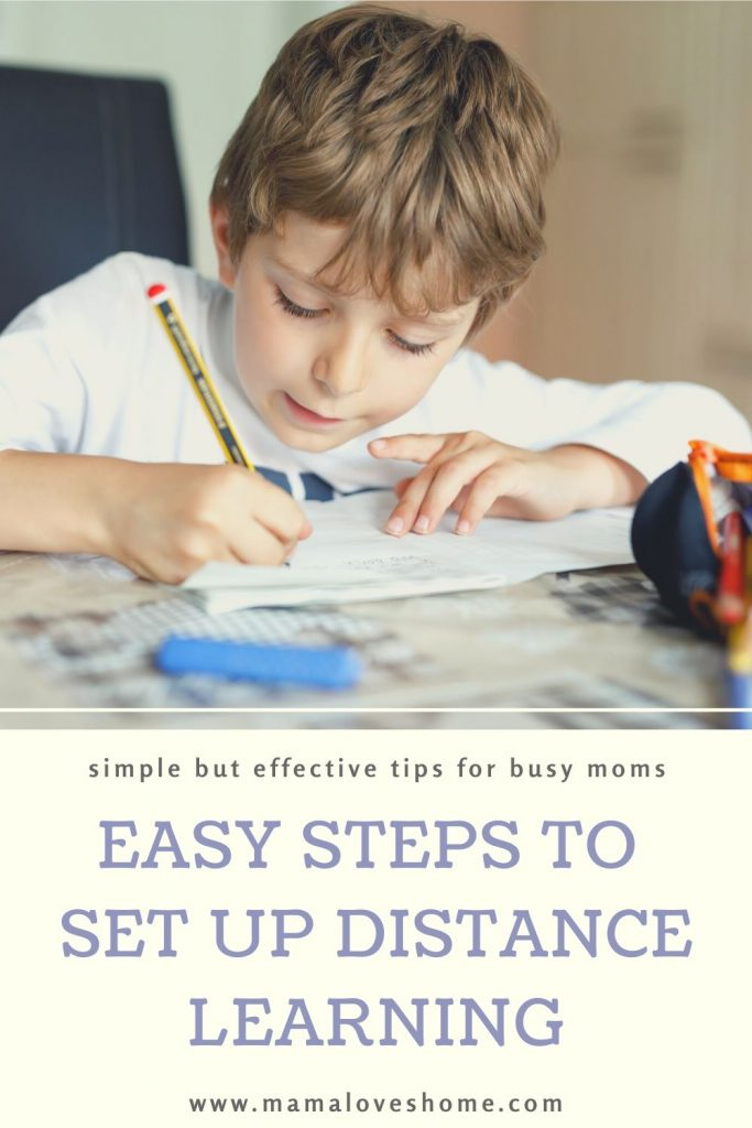 A child studying at home - distance learning tips